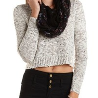 Cropped Sweater with Crochet by Charlotte Russe - White Combo