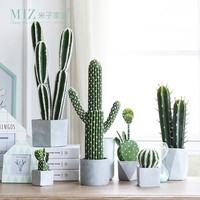 Miz 1 Piece Artificial Potted Cactus Super Real Artificial Plant for Home Decoration Multi-Style Cactus Ball Interior Decor