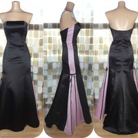 Vintage 90s Dramatic Mermaid Bustier Bombshell Gown XS 1 Gunne Sax Pink & Black Wiggle Dress