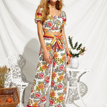 Botanical Print Striped Cuff Top & Wide Leg Pants Set