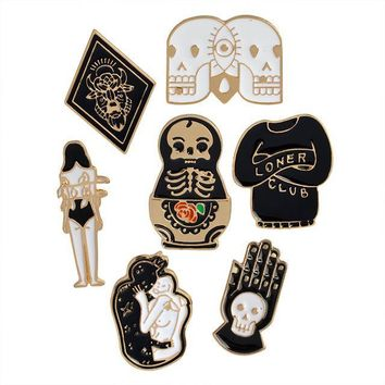 Gothic Enamel Pins 7pc Set