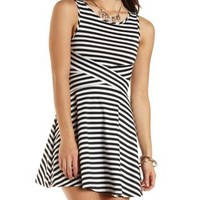 Crisscross Striped Skater Dress by Charlotte Russe