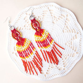 Native American long micro macrame earrings - Fringe Tassel Fire Red Orange Yellow White Unique Bohemian Beadwork