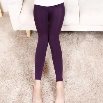 New Fashion Solid Woman Leggings Casual Winter Warm Pants Stretched Good Quality Elastic Thick Trousers Female One Size