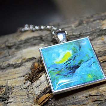 Turquoise Pendant Bold Turquoise Necklace Abstract Art Pendant Necklace Wearable Art Jewelry Square Pendant Turquoise Jewelry MINI19