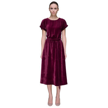 'Crimson Surprise' Short Sleeve Crimson Silk Velvet Midi Dress