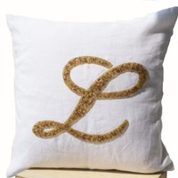 Decorative Throw Pillow Covers with Customized Monogram Letter in Gold Sequin Detail - Sequin Monogrammed Throw Pillowcover - White Linen Pillow Cover 18x18 - Cursive Initial Personalized Pillow Cover - Accent Pillow Covers - Toss Pillow Cover with Letter
