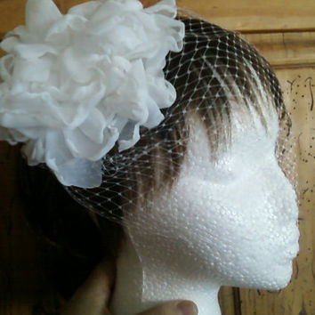 White Bandeau Style Birdcage Veil with White Hair Flower/ Fascinator, Also in Ivory, Retro, Vintage, Cottage Chic, Boho, Wedding Hairpiece