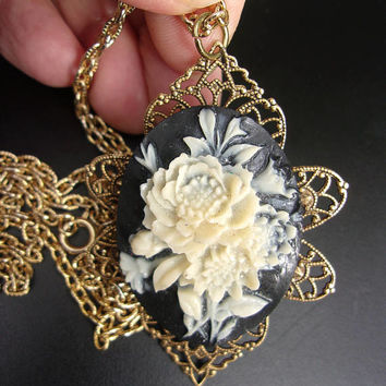 White Rose & Black Cameo Pendant Necklace, Victorian Revival Celluloid, Vintage