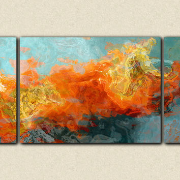 "Abstract art sofa sized triptych gallery wrap canvas print, in orange and blue, ""Electric Illusion"", 30x60 to 40x78"