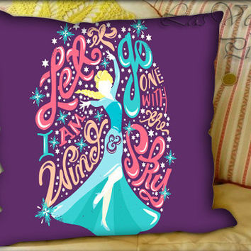 Disney Princess Elsa Frozen Collage Quotes - Pillow Cover and Pillow Case.