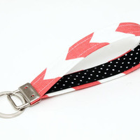 Key fob damask, fabric keychain wristlet, keyring, key lanyard - coral red chevron stripes with black and white polka dot