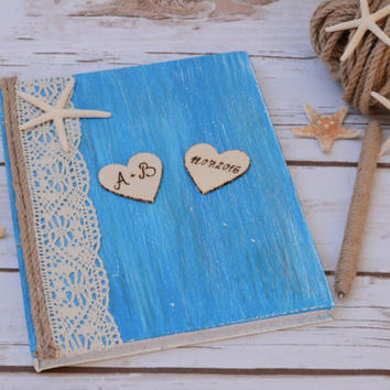 Beach Wedding Guest Book Nautical Wedding Guestbook Starfish Book Rustic Wedding Blue wedding
