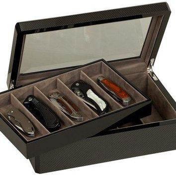 Venlo Carbon Fiber 10 Knife Utility Display Case Box Beveled Glass Top