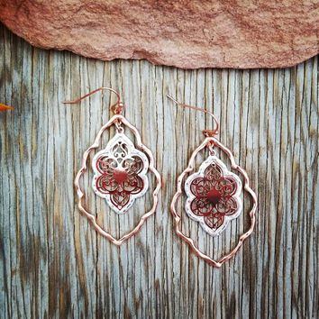Rose Gold Layered Earrings