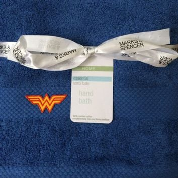 M&ampS Wonder Woman 2 Piece Towel Set - Available in Blue, White or Beige