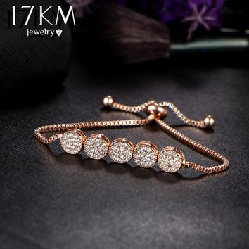 17KM 2017 Fashion Adjustable Bracelets For Women Pulseras Mujer Wedding Crystal Bracelet Charm Femme Party Jewelry Friend Gift