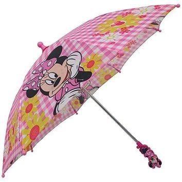 Licensed Disney Minnie Mouse Boutique Pink and White Gingham Flower Umbrella