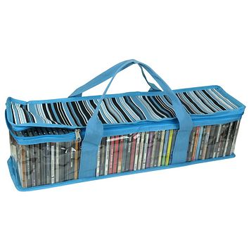 Evelots CD Storage Bag-Sturdy Handles-Hold 50 CDs Total- Blue Stripes