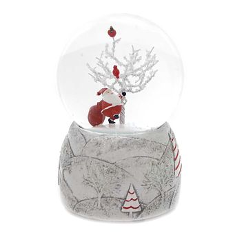 Christmas SANTA WITH TREE GLITTERDOME Glass Jolly Old St Nick 131119