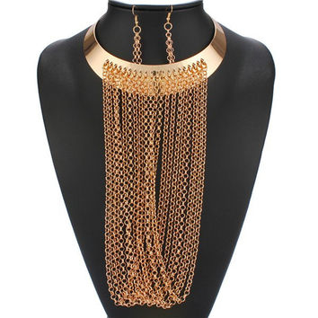 Gold Long Fringe Necklace and Earrings