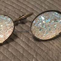 Druzy earrings-  ab clear drusy bronze tone dangle druzy earrings