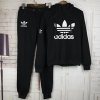 ESBHQ9 Adidas Casual Print Hoodie Top Sweater Pants Trousers Set Two-piece Sportswear
