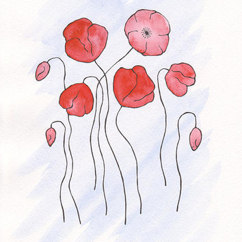 Red poppies drawing. A4 size artwork on paper.