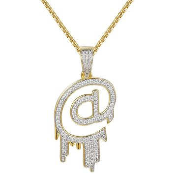 Custom 'At' @ Symbol Iced Out Pendant Necklace