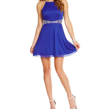 Teeze Me Glitter Ity Beaded Waist Dress | Dillards