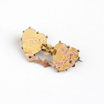 Antique Victorian Yellow and Rose Gold Filled Mizpah Double Heart Brooch - Vintage Two Tone Ivy Leaf 1890s Ornate Symbolic Love Jewelry Pin
