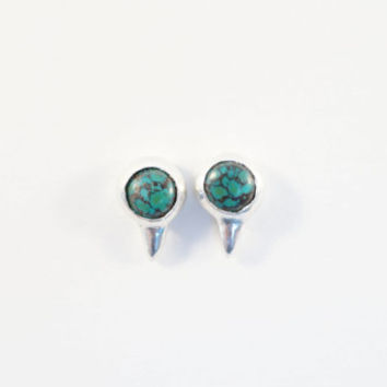 Thorny Studs - Sterling silver spike stud earrings with turquoise stones