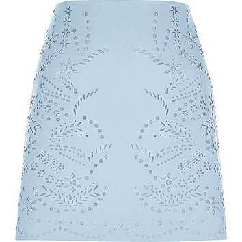 Light blue laser cut faux leather mini skirt