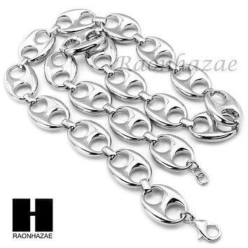 "Mens 14k White Gold Plated 10mm wide 9"" - 36"" Puffed Mariner Gucci Link Chain"