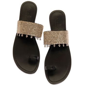 Luna Silver on Black Toe Loop Sandals