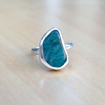 Amazonite Sterling Silver Ring, Boho Ring, Gypsy Style, Gemstone Ring, Bohemian Statement Ring, Hippie, Modern, Unique, OOAK