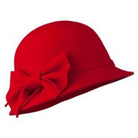 Amazon.com: Wool Felt Cloche Hat with Bow - Red OSFM W23S47F: Clothing