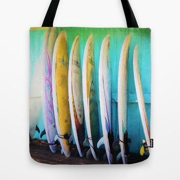 surfboards Tote Bag by Sylvia Cook Photography