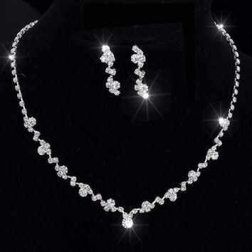 Silver Tone Crystal Tennis Choker Necklace Set Earrings bridal jewelry
