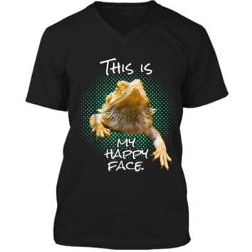 This Is My Happy Face Bearded Dragon Funny Reptile  Mens Printed V-Neck T