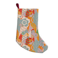 """Akwaflorell """"Fishes Here, Fishes There 2"""" Multicolor Christmas Stocking"""
