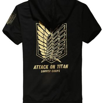 Cool Attack on Titan  hooded jacket mens Coat short sleeve Hoodie golden scouting legion boys clothes anime cosplay costume AT_90_11