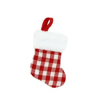 ONETOW 7' Red and White Gingham Print Christmas Stocking with White Faux Fur Cuff