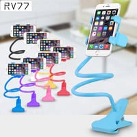 Universal Lazy Android Mobile Phone Clip Holder GPS Desk Bed Stand Bracket 360 Rotating Mount For iPhone 5S 6 6S 6 Plus