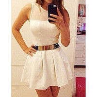 White Mesh Panel Sleeveless Mini Dress