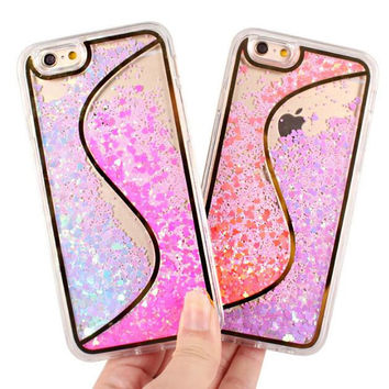 S type double-color stars quicksand TPU mobile phone case for iphone 5 5s SE 6 6s 6plus 6s plus + Nice gift box!