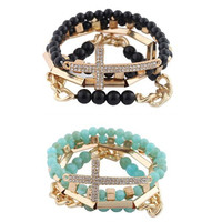 Goldtone with Turquoise and Black 4 Piece Bundle of Iced Out Cross, Link, and Bar Chain Beaded Stretch Bracelet Jewelry Set
