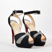 PEAP Black Christian Louboutin Lizard   Double Moc 140   Sandals