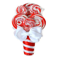 Lollipop Maid of Honor/Small Bouquet (Red/White)