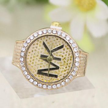 MK Popular Women Men Simple Letter Diamond Water Drill Couple Ring Watch Golden I12549-1